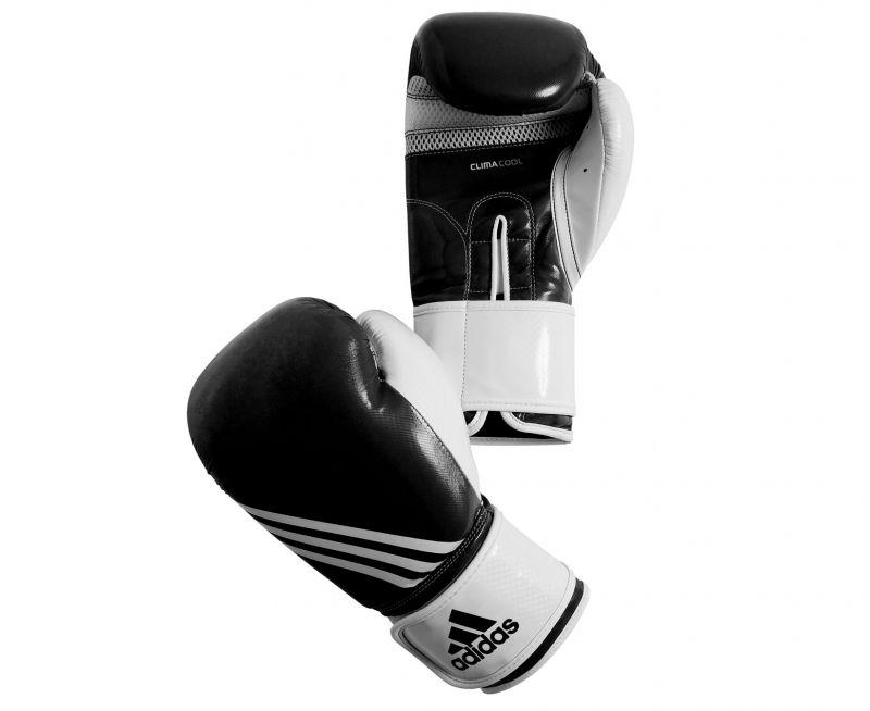 Боксёрские перчатки Adidas для фитнесса черно-белый полиуретан PU4G.