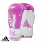 Боксёрские перчатки Adidas для фитнесса розово-белый полиуретан PU4G.
