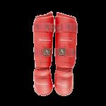 Защита Голень-Стопа для каратэ Arawaza NEW WKF (красные)